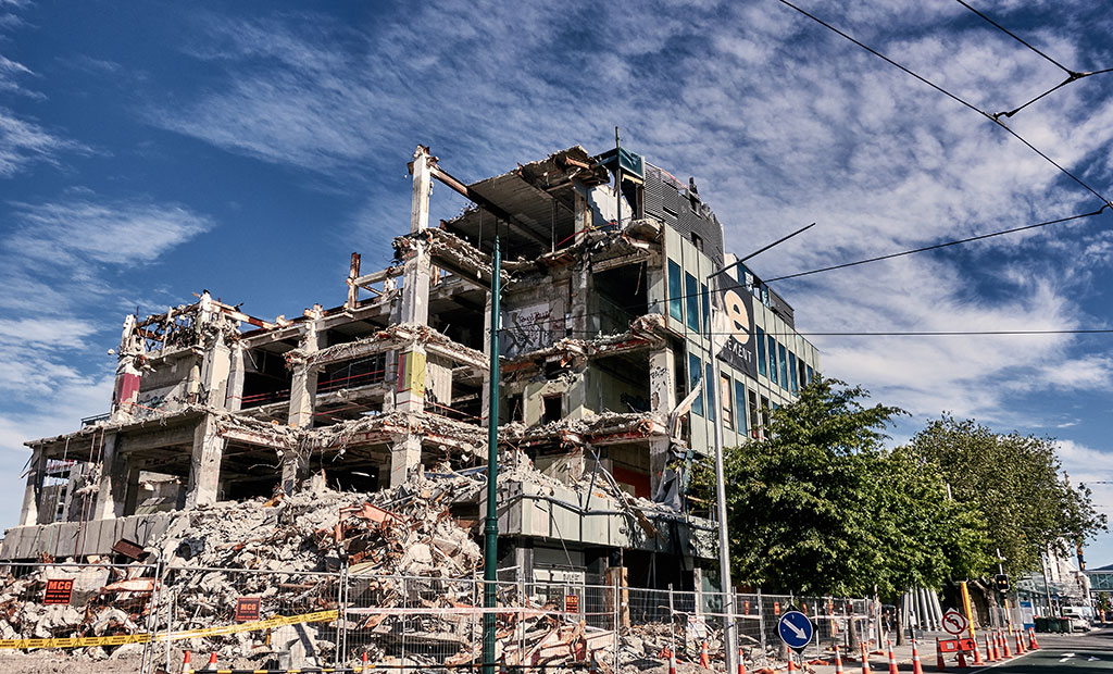 View of a damaged building in the wake of the 2011 Christchurch earthquake